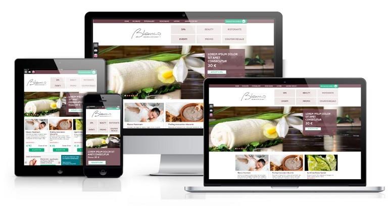 Homepage di un sito Ecommerce visualizzata su tutti i device: desktop, tablet, smartphone