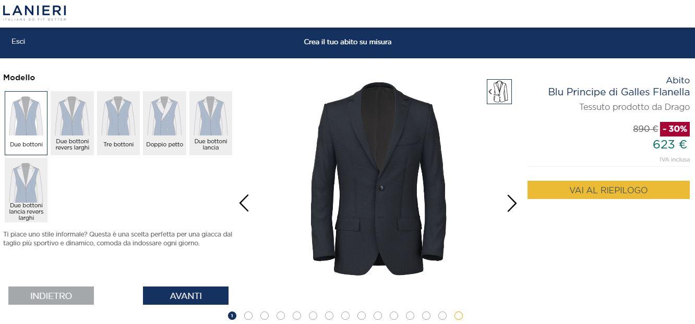 Pagina del configuratore 3d sul sito e-commerce Lanieri