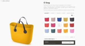 Pagina del configuratore per la personalizzazione sul sito e-commerce di O Bag