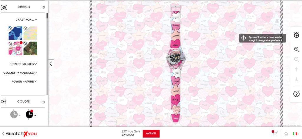 Configuratore Swatch per la personalizzazione degli orologi