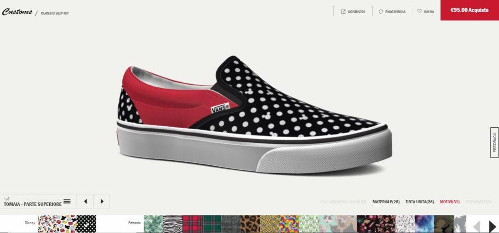 Pagina del configuratore di scarpe sul sito e-commerce Vans